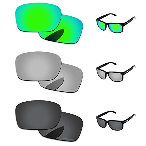 PapaViva Lenses Replacement for Oakley Holbrook Black Grey & Chrome Silver & Bluish Green