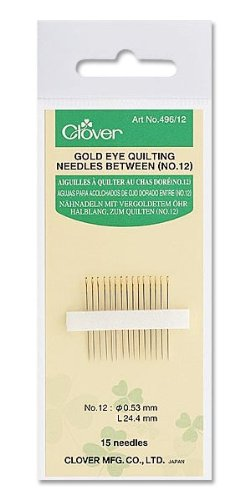 Clover CL496/08 | 15pk No.8 Nickel Plate Gold Eye Quilting Needles | Smooth ()