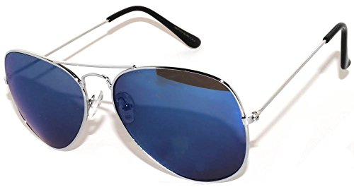 Classic Aviator Blue Mirrored Lens Glasses Metal Frame Silver Color