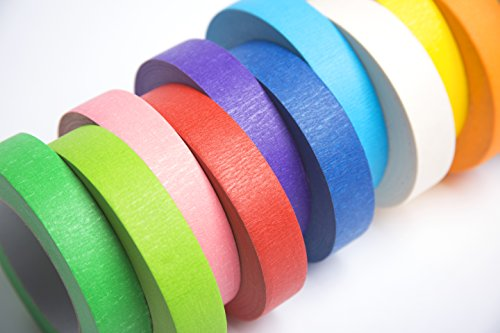 12 Rolls of Colored Masking Tape, 1 in x 60 yds; Great for DIY Label Making, Arts & Crafts, Home & Office. Includes Blue, Black, Yellow, Purple, White and many more. VIBRANT COLORS Photo #2