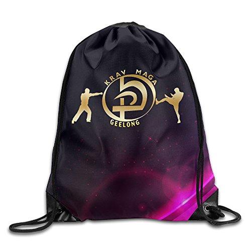 BYDHX KMG Krav Maga Geelong Gold Logo Drawstring Backpack Bag White