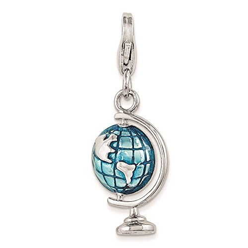 Enameled Globe Charm - 925 Sterling Silver Enameled Globe w/ Lobster Clasp Charm - Amore La Vita Collection