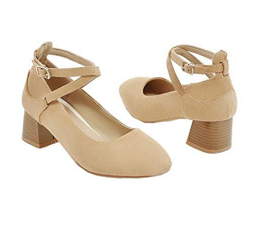 FBUIDD007025 AllhqFashion Albicocca Medio Puro Donna Ballet Fibbia Flats Tacco Luccichio fqfRavWw8