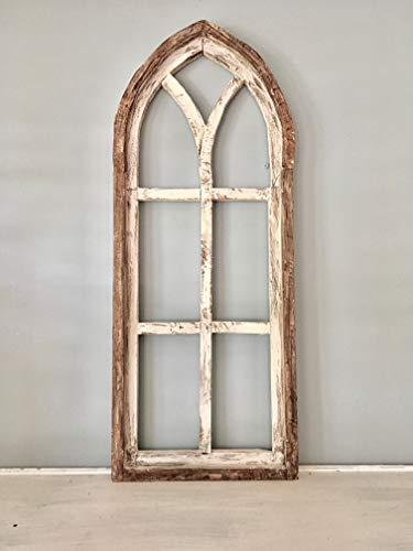- Cathedral Arch Window Frame, Farmhouse Cottage Decor, Cathedral Window Frame, Distressed Chippy Paint, Wall Decor, Farmhouse Wall, Window Frame