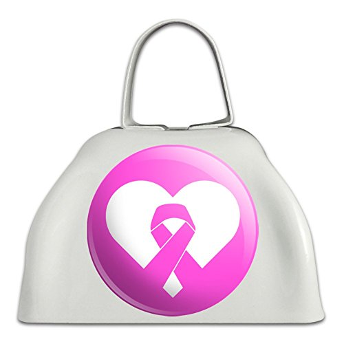 Breast Cancer Awareness Pink Ribbon in Heart White Metal Cowbell Cow Bell Instrument ()