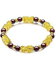 AB810 6mm rode kristallen boeddhisme zes woorden pixiu kraal charme fortune armband lucky amulet mode-sieraden mannen vrouwen Bedelarmbanden (Metal Color : B)