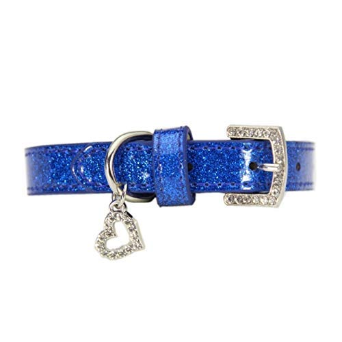 bluee 2.5×4656cm Lindou Pet collar Pet collar small medium and large dog creative rhinestone decorative dog collar,silv,2.0×3038cm (color   bluee 2.5×4656cm)