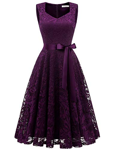 Gardenwed Elegant Floral Lace Bridesmaid Dresses Sleeveless V Neck Formal Dresses Cocktail Dresses for Women Grape L