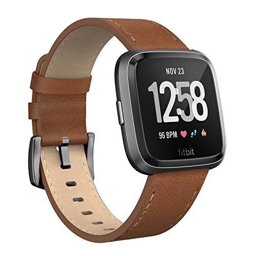 SWEES for Fitbit Versa Bands Leather, Genuine Leather Bands Replacement Strap with Stainless Steel Clasp Buckle for Fitbit Versa, Dark Brown