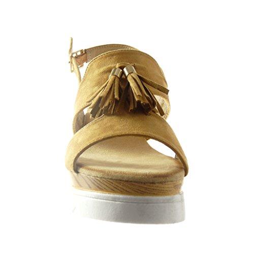 Chaussure Camel 5 Plateforme 6 Bois Femme Compensé Frange Angkorly Mode Plateforme Talon Pom cm Pom Sandale Ouverte AnCqxp