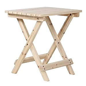 VH FURNITURE Wooden Side Table Rustic Patio Small Desk For Indoor And Outdoor (Nature)