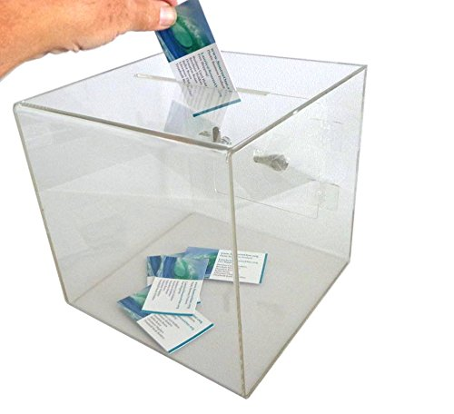 SourceOne Medium 8 Inch Premium Clear Acrylic Ballot Box Donation Box Cube by SOURCEONE.ORG