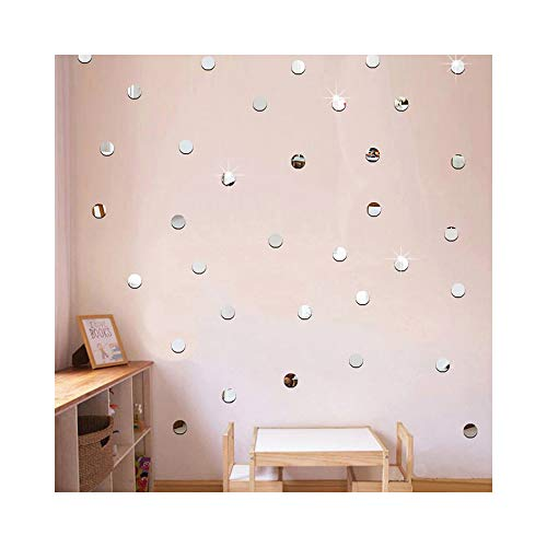 Silver Bling-Bling Dots 200pcs2cm DIY 3D Acrylic Wall Sticker Mirror Effect Stickers Mural Children's Room Ceiling Bedroom Decor Decals adesivo de Parede Home Decorations ()