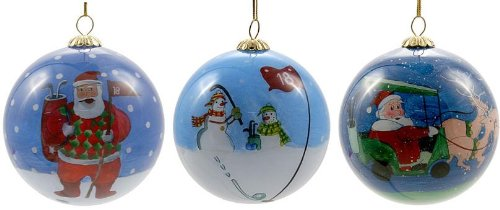 Hand Painted Glass Golf Christmas Ornament 3 Pack