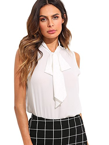 Floerns-Womens-Tie-Bow-Neck-Sleeveless-Chiffon-Solid-Blouse-Top