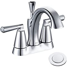 Enzo Rodi Lead-free Brass 4 inch Center-set Bathroom Sink Faucet with Ceramic Valve and Full-copper Lift Pop-up Drain Assembly, Chrome, ERF2305338CP-10