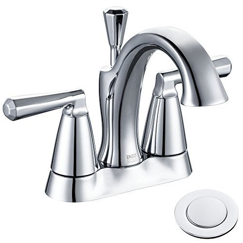ENZO RODI Solid Brass Low-Arc Spout 3 Holes 4 inch Centerset Bathroom Sink Faucet with Lift Pop-up Drain Assembly, Chrome, ERF2305338CP-10
