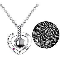 Fashion Jewelry Collar con Dije TE Amo 100 Idiomas I Love You (Corazón Plata)