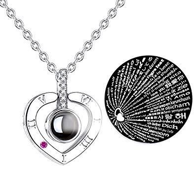 precio competitivo cfb9f 55c66 Fashion Jewelry Collar con Dije TE Amo 100 Idiomas I Love You (Corazón  Plata)