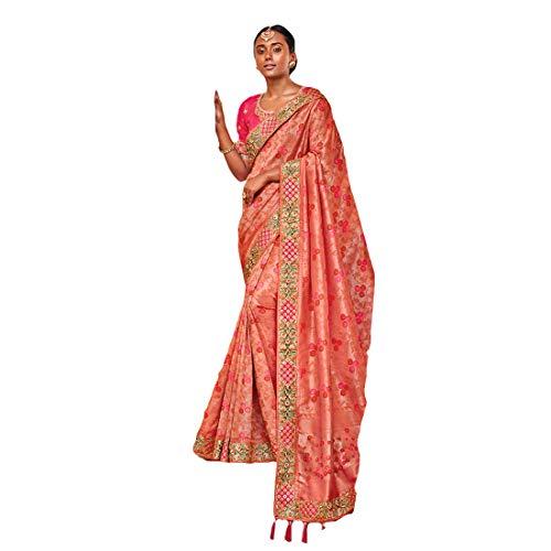 DesiButik's Party Wear Graceful Peach Silk Saree