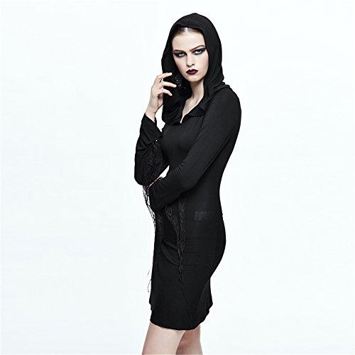 Les Femmes Steampunk Robe Moulante À Capuche Printemps Gothique Robes Décontractées Manches Longues Noir Mini Robe