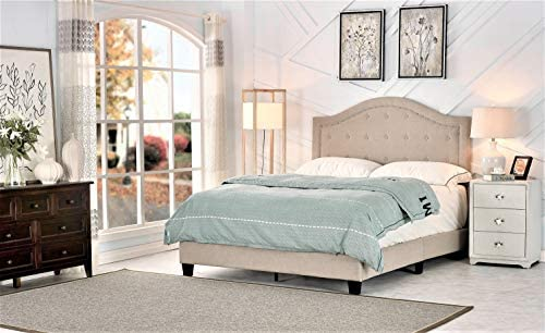 Container Furniture Direct Skipworth Mid Century Button Tufted Upholstered Panel Bed, 82.70 , Queen Beige