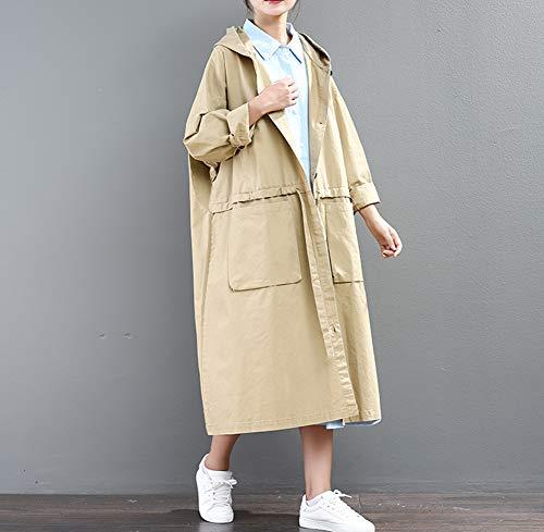 Cappotto A Solido Casual Grande Paragrafo Cappotto Moda Letterario Vento Colore Doppia Giacca Maniche Manica Allentato Donna Imzoeyff Lungo Lunghe Tasca xXwqp54XP