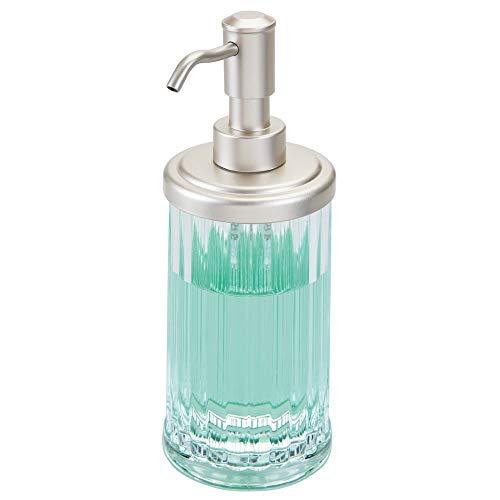 (mDesign Fluted Plastic Refillable Liquid Soap Dispenser Pump Bottle for Bathroom Vanity Countertop, Kitchen Sink - Holds Hand Soap, Dish Soap, Hand Sanitizer, Essential Oils - Clear/Satin )