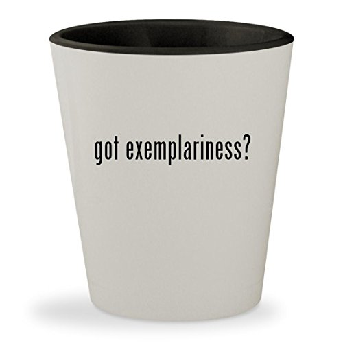 got exemplariness? - White Outer & Black Inner Ceramic 1.5oz Shot Glass (Of Early Women Exemplary China)