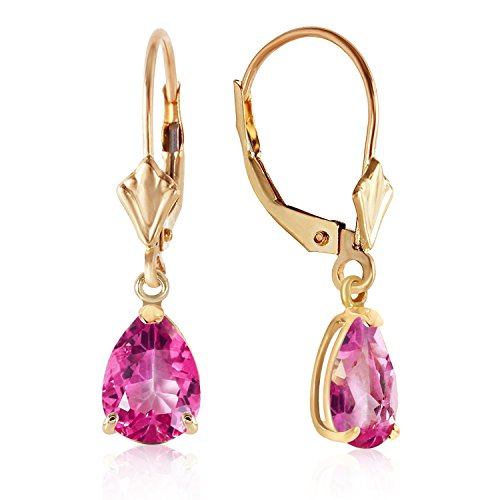 Garnet Earrings Topaz Pink & (2.85 Carat 14k Solid Gold Dangle Earrings with Natural Pink Topaz)