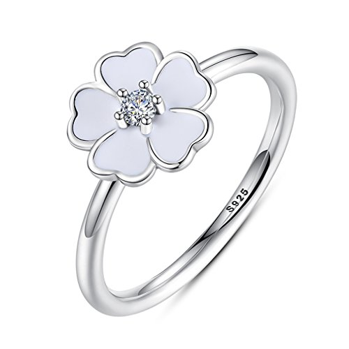 Sterling Silver Kiss - The Kiss Primrose 925 Sterling Silver Stackable Ring, White Enamel