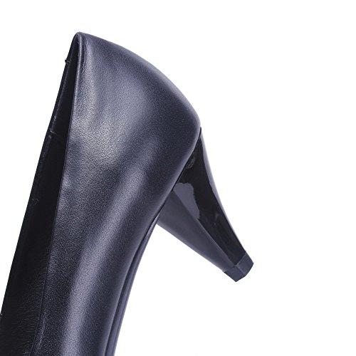 AllhqFashion Slip-on Mujer Cuero de Vaca Tacón Medio Puntera en Punta ZapatosdeTacón Negro