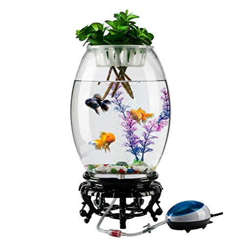 LF stores Fish Tank Personality Creative Round Goldfish Tank Aquarium Living Room Desk Fashion Aquarium Desktop Decoration Home Glass Fish Tank Aquariums (Size : L)