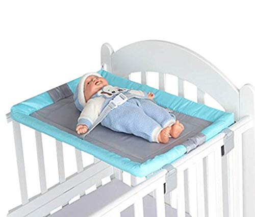 Trust Me Infant Baby Toddler Universal Diaper Changing Station Bed Adds-On Retrofit for Crib (LBlue) by Trust Me