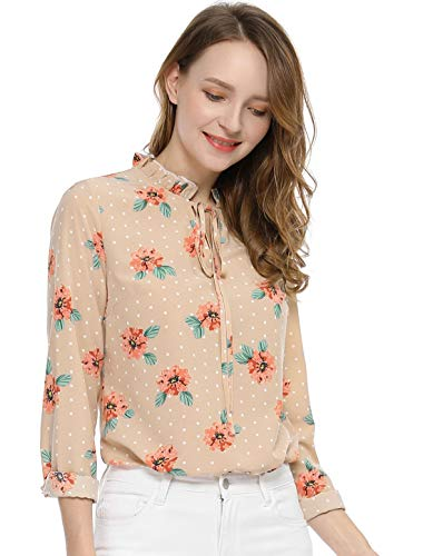 Allegra K Women's Tie Ruffled Neckline Polka Dots Long Sleeves Floral Blouse Tops L Apricot