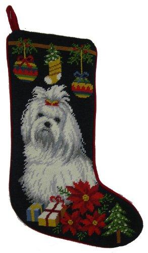 Maltese Dog Needlepoint Christmas Stocking
