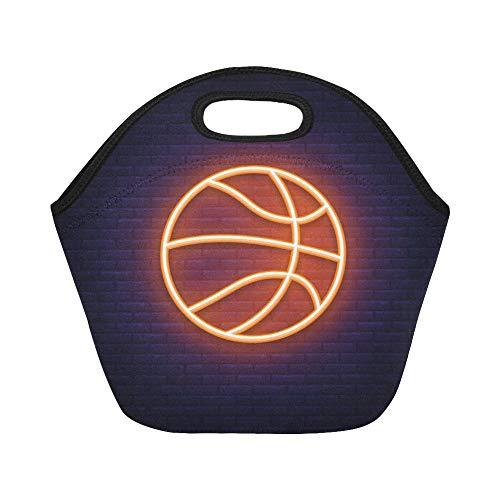 - Insulated Neoprene Lunch Bag Basketball Neon Icon Design Element Large Size Reusable Thermal Thick Lunch Tote Bags Lunch Boxes For Outdoor Work Office School