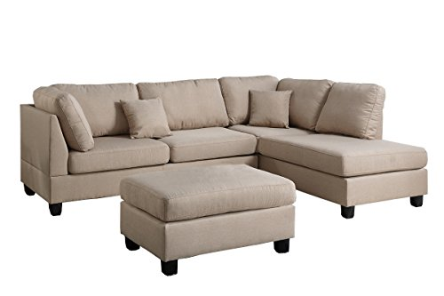 Tan Sofa Fabric - Poundex F7605 PDEX-F7605 Upholstered Sofas/Sectionals/Armchairs, Sand