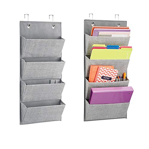 mDesign Soft Fabric Wall Mount/Over Door Hanging Storage Organizer - 4 Large Cascading Pockets - Holds Office Supplies, Planners, File Folders, Notebooks - Textured Print, 2 Pack - Gray (Wall Binder 3 Ring Holder)