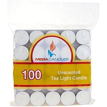 Mega Candles - Unscented Tea Light Candles - White, Set of 100