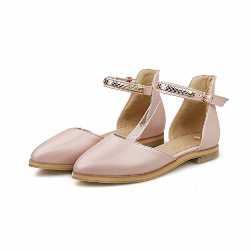 Carolbar Chic Womens Buckle Sweet Casual Ankle-strap Cute Comfort Flats Sandals Pink KbKB61G4