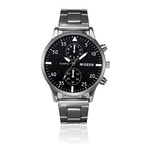 Price comparison product image Auwer Watches, Men's Quartz Wristwatch,  Fashion Men Crystal Stainless Steel Analog Quartz Wrist Watch Bracelet (silver)