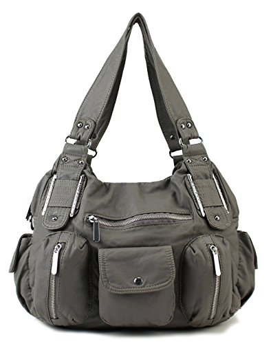 designer purses clearance hfd9  Scarleton Double Zipper Washed Shoulder Bag H133624