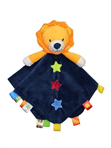 Taggies Rattle Head Lion Baby Boy Plush Security Blanket Lovie by Taggies - Navy Le Top Receiving Blanket