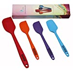 GLOUE Silicone Spatula Set - 4-piece 450oF Heat-Resistant Baking Spoon & Spatulas - Ergonomic Easy-to-Clean Seamless One-Piece Design - Nonstick - Dishwasher Safe - Solid Stainless Steel - Multicolor 8 HIGH HEAT 450°F PRO-GRADE SILICONE - Our spatulas made from high quality, flexible, non-sticking and heat-resistant silicone It is Safe for Coated & Non-stick Cookware and perfect for use with hot foods and around the cook top. DURABILITY - This is key. Stainless Steel is added to every spatula for extra strength ensuring your set will work perfectly on the first use and the 100th use.You need a spatula set that you can count on day in and day out! EASY TO USE AND CLEAN: They will not melt, warp, discolor, or shrink like regular plastic or wooden brushes. Each high-quality spatula is dishwasher safe or can be easily cleaned by hand.