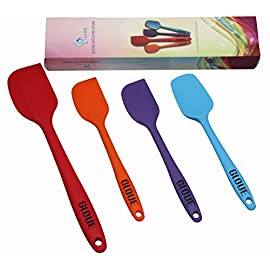 Gloue silicone spatula set - 4-piece 450of heat-resistant baking spoon & spatulas - ergonomic easy-to-clean seamless one-piece design - nonstick - dishwasher safe - solid stainless steel - multicolor 1 high heat 450°f pro-grade silicone - our spatulas made from high quality, flexible, non-sticking and heat-resistant silicone it is safe for coated & non-stick cookware and perfect for use with hot foods and around the cook top. durability - this is key. Stainless steel is added to every spatula for extra strength ensuring your set will work perfectly on the first use and the 100th use. You need a spatula set that you can count on day in and day out! easy to use and clean: they will not melt, warp, discolor, or shrink like regular plastic or wooden brushes. Each high-quality spatula is dishwasher safe or can be easily cleaned by hand.