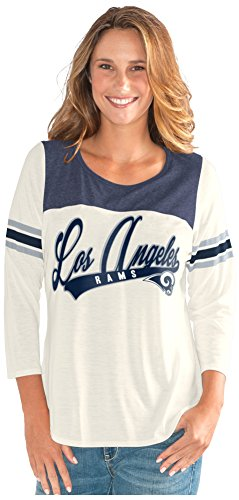 b4938d09 GIII For Her NFL Los Angeles Rams Women's End Zone 3/4 Sleeve Tee, Small,  Vintage White