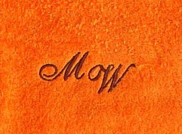 Toalla de baño/toalla 70 x 140 cm New York Naranja con iniciales, el