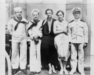 1932 photo Edmund J. Lord, Albert O. Jones, Mrs. Granville Fortescue, Mrs. Thalia Massie, and Lt. Thomas H. Massie, full-length portrait, standing, facing front, on board the U.S.S. Alton at time of t