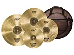 """4-piece B20 Cymbal Set with 14"""" Hi-hats, 16"""" and 18"""" Crashes, 21"""" Ride, and 24"""" Padded Cymbal Bag"""